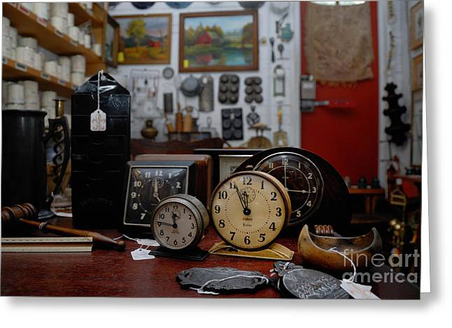 Clock Shop Greeting Cards - Clocks Keeping Time in an Antique Shop Greeting Card by Amy Cicconi