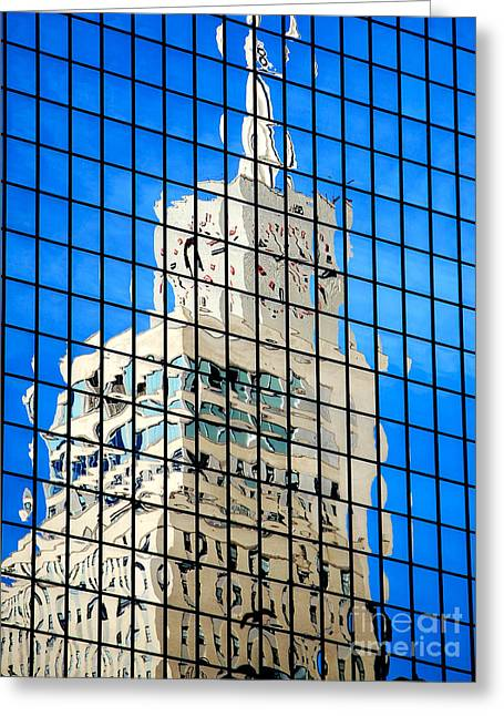 Dallas Texas Greeting Cards - Clocktower of Mercantile National Bank Building in Reflection Dallas Texas Greeting Card by Shawn O