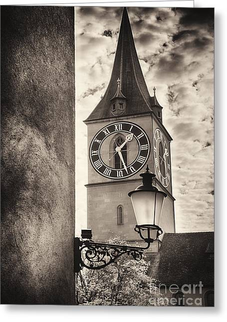 Various Greeting Cards - Clocktower View Greeting Card by George Oze