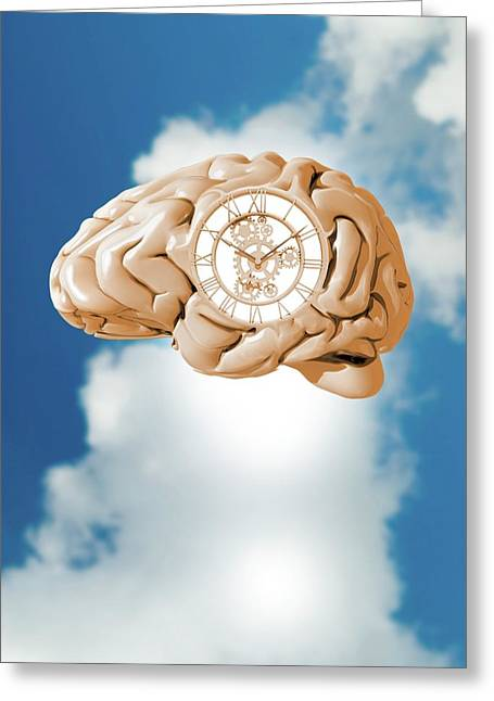 Clockwork Brain Greeting Card by Victor Habbick Visions