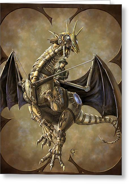 Clockwork Greeting Cards - Clockwork Dragon Greeting Card by Rob Carlos