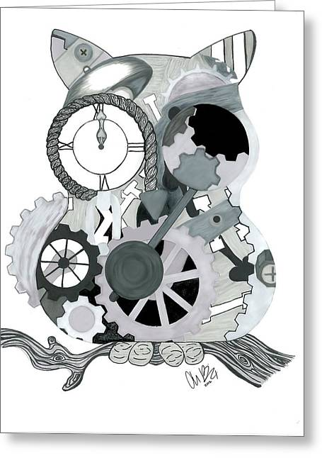 Pen And Ink Drawing Digital Art Greeting Cards - Clockwork Owl Greeting Card by Amanda Bright