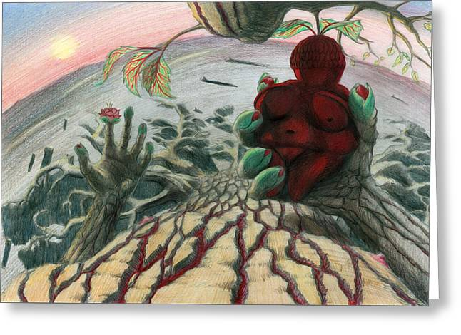 Surreal Landscape Drawings Greeting Cards - Strange Fruit Greeting Card by Tijmen Brozius