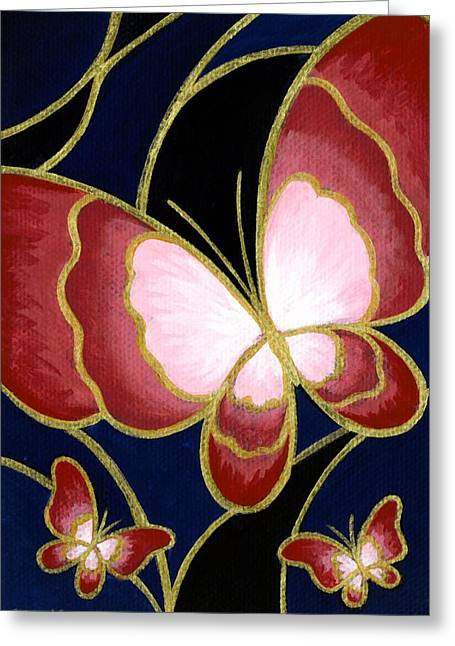 Paiting Greeting Cards - Cloisonne Butterfly Greeting Card by Elaina  Wagner