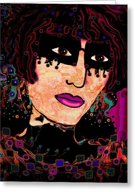 Dark Pink Carnival Art Greeting Cards - Cloisonne Greeting Card by Natalie Holland
