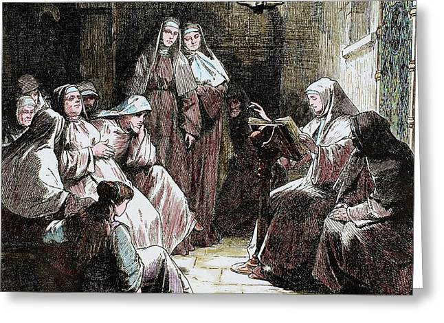 Cloistered Nuns Gospel Reading Greeting Card by Prisma Archivo