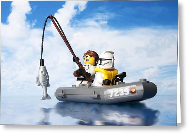 Toy Boat Greeting Cards - Clone trooper fishing trip Greeting Card by Samuel Whitton