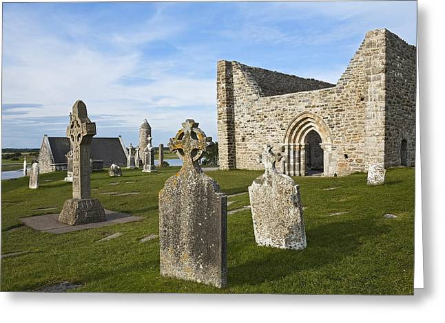 Place Of Burial Greeting Cards - Clonmacnoise _cloister Ruins__ County Greeting Card by Carl Bruemmer