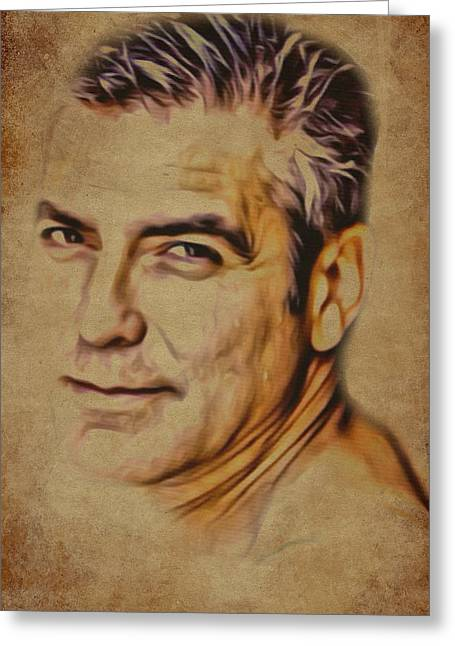 Clooney Greeting Cards - Clooney on Brown background Greeting Card by Yury Malkov