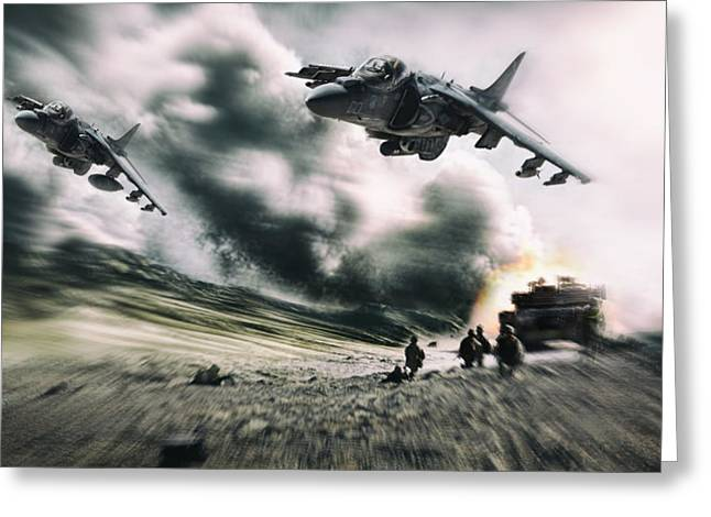 Close Air Support Greeting Card by Peter Chilelli