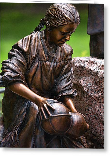 Water Jug Greeting Cards - Close Bronze Sculpture of Girk Greeting Card by Linda Phelps