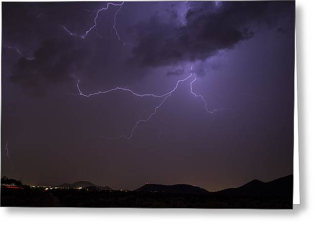 Arizona Lightning Greeting Cards - Close Call Greeting Card by Cathy Franklin