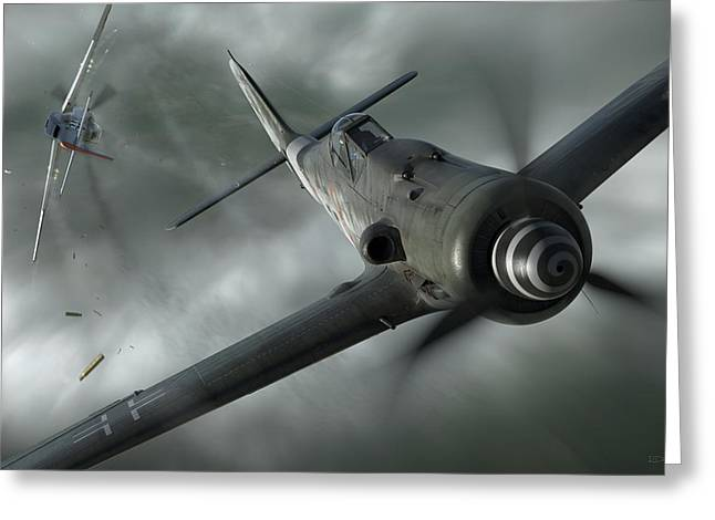 Fighter Aircraft Greeting Cards - Close Call Greeting Card by Robert Perry