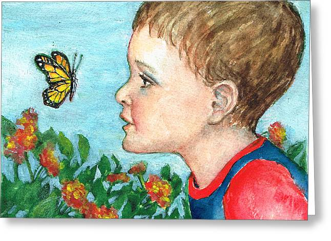 Little Boy Greeting Cards - Close Encounter Greeting Card by Barbel Amos