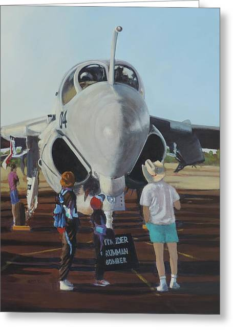 Airforce Paintings Greeting Cards - Close Encounter Greeting Card by Bill Tomsa