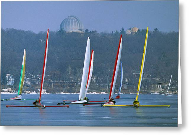 Sail Boat Greeting Cards - Close Encounters - Lake Geneva Wisconsin Greeting Card by Bruce Thompson