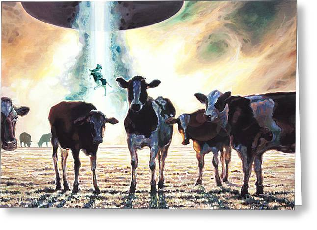 Outer Space Paintings Greeting Cards - Close Encounters of the Herd Kind Greeting Card by Todd Trainer