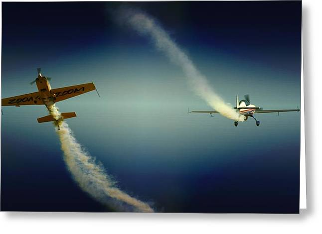 Aerobatics Greeting Cards - Close Flying Greeting Card by Paul Job