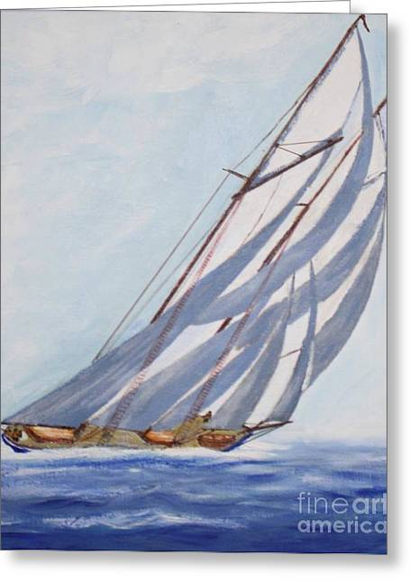 Tall Ships Mixed Media Greeting Cards - Close Hauled in a Half Gale Greeting Card by Bill Hubbard