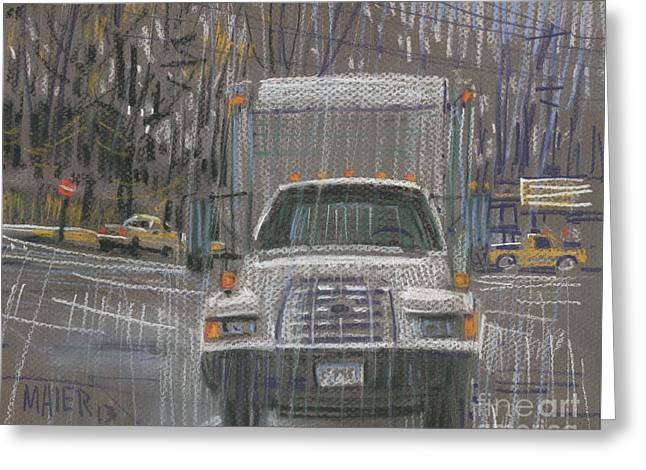Truck Drawings Greeting Cards - Close-Out Delivery Truck Greeting Card by Donald Maier