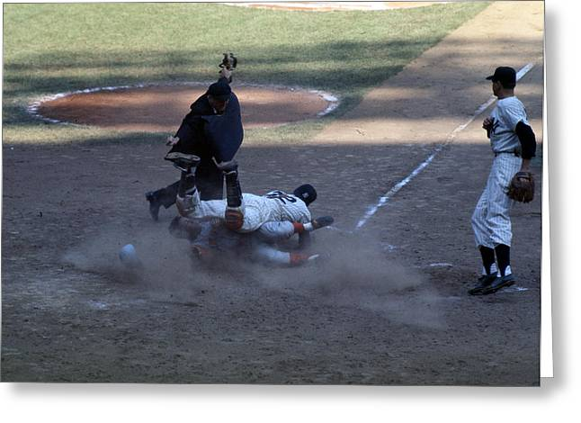 Close Play At The Plate  Greeting Card by Retro Images Archive