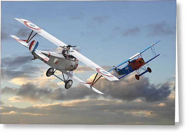 Triplane Greeting Cards - Close Quarters Greeting Card by Pat Speirs