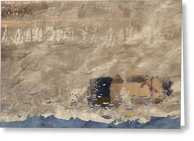 Abstract Seascape Mixed Media Greeting Cards - Close to Shore Greeting Card by Carol Leigh