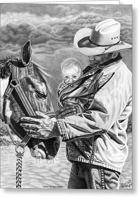 Ranch Drawings Greeting Cards - Close To The Heart Greeting Card by Glen Powell