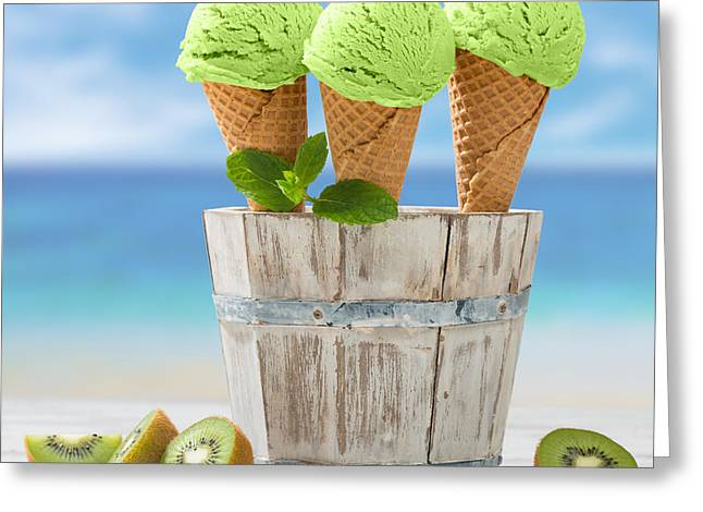 Square Format Greeting Cards - Close Up Ice Creams Greeting Card by Amanda And Christopher Elwell
