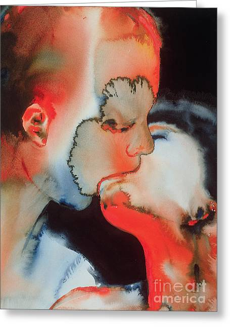 Modernist Greeting Cards - Close Up Kiss Greeting Card by Graham Dean