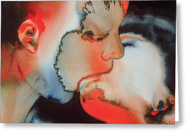 Close Up Kiss Greeting Card by Graham Dean