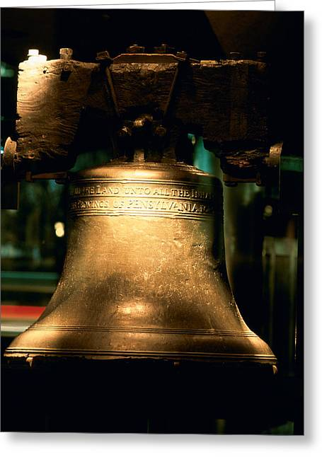 Liberty Bell Greeting Cards - Close-up Of A Bell, Liberty Bell Greeting Card by Panoramic Images