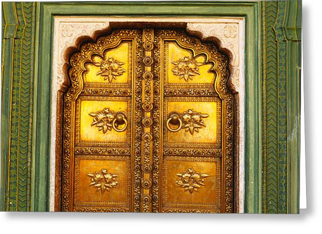Jaipur Greeting Cards - Close-up Of A Closed Door Of A Palace Greeting Card by Panoramic Images