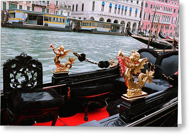Wooden Sculpture Greeting Cards - Close-up Of A Gondola In A Canal, Grand Greeting Card by Panoramic Images