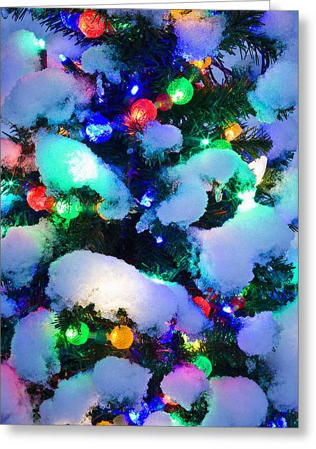 Snowy Night Night Greeting Cards - Close Up Of A Multi-colored Christmas Greeting Card by Kevin Smith