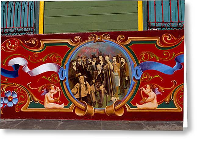Buenos Aires Art Greeting Cards - Close-up Of A Painting On A Window, La Greeting Card by Panoramic Images