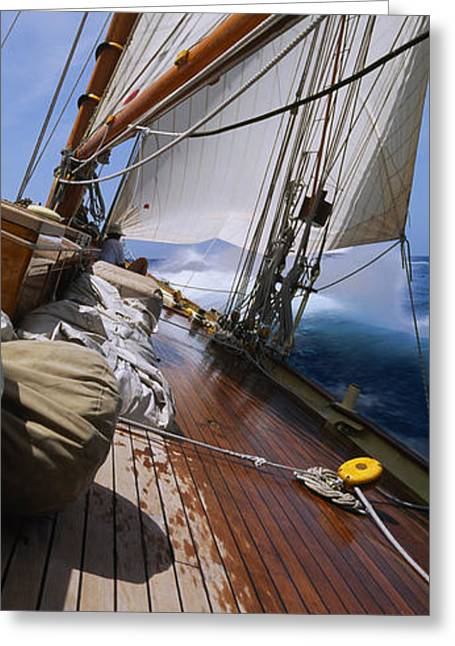 Sailboat Images Greeting Cards - Close-up Of A Sailboat Deck Greeting Card by Panoramic Images