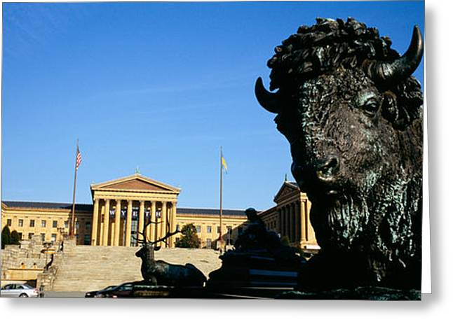 Philadelphia Museum Of Art Greeting Cards - Close-up Of A Sculpture Of A Buffalo Greeting Card by Panoramic Images