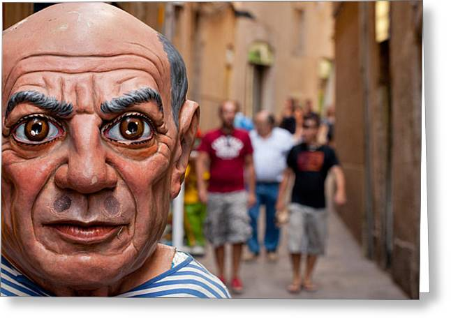 Pablo Picasso Greeting Cards - Close-up Of A Sculpture Of Pablo Greeting Card by Panoramic Images