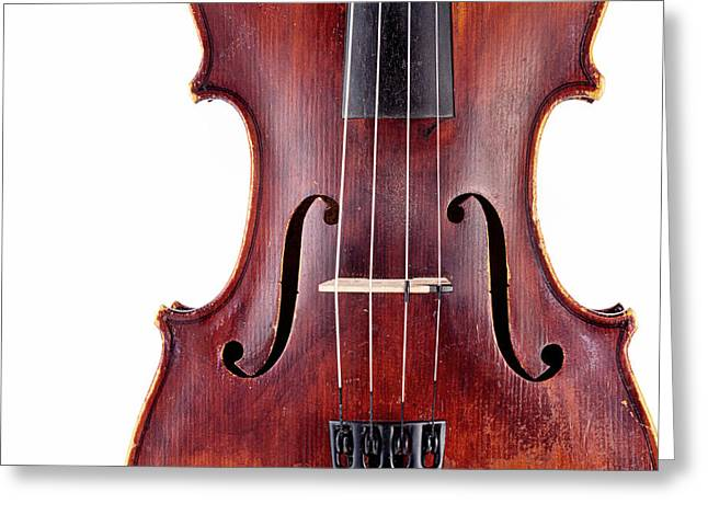 White Chopin Greeting Cards - Close up of a violine Greeting Card by Chevy Fleet