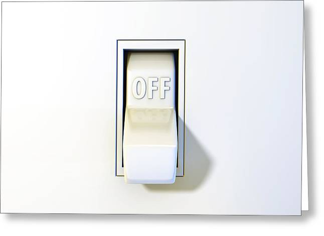 Switch Greeting Cards - Close up of a wall light switch in the off position Greeting Card by Scott Norris