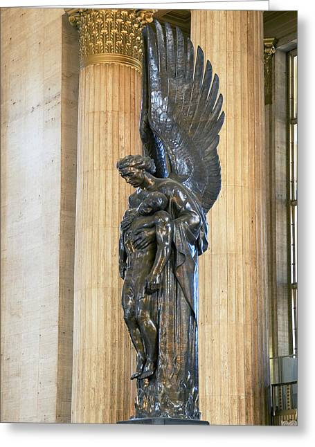 Public Transportation Greeting Cards - Close-up Of A War Memorial Statue Greeting Card by Panoramic Images