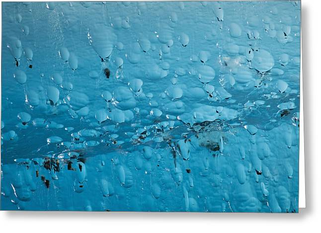 Nature Abstracts Greeting Cards - Close Up Of Air Bubbles In Iceberg Greeting Card by Ray Bulson