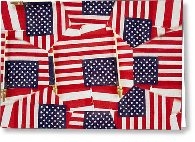 American Flag Photography Greeting Cards - Close-up Of American Flags Greeting Card by Panoramic Images