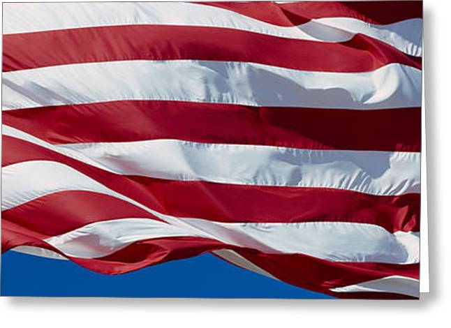 American Flag Photography Greeting Cards - Close-up Of An American Flag Greeting Card by Panoramic Images