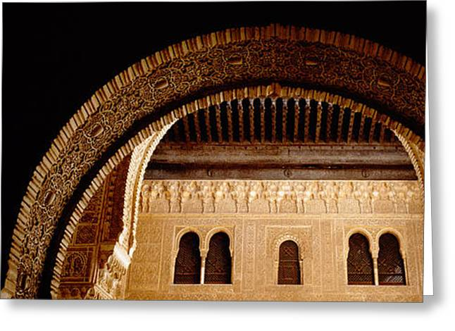 Close-up Of An Arch, Court Of Lions Greeting Card by Panoramic Images