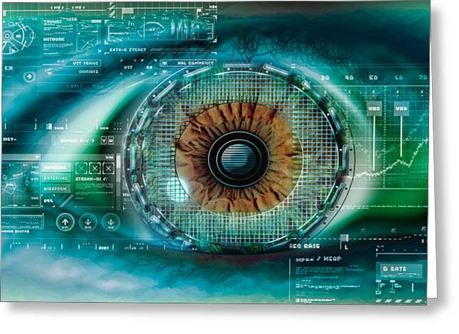 Digitally Generated Image Greeting Cards - Close-up Of An Eye With Tech Diagrams Greeting Card by Panoramic Images
