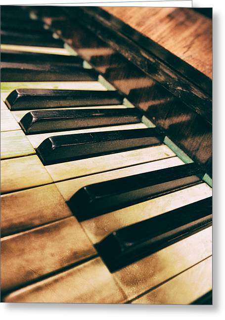 Close Up Of An Old Piano Greeting Card by Jaroslaw Blaminsky