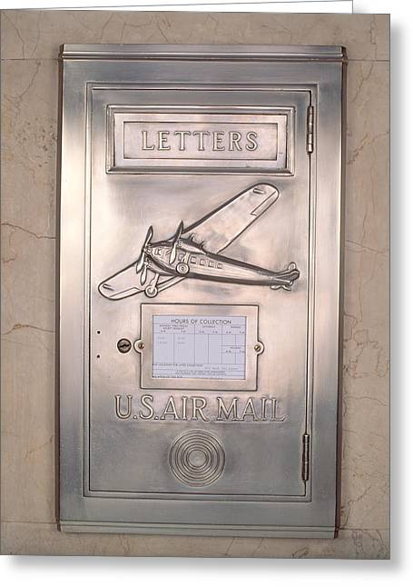 Daily Mail Greeting Cards - Close-up Of Art Deco Metal Mailbox, Two Greeting Card by Panoramic Images
