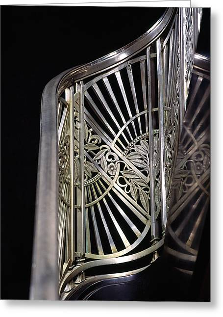 Metalwork Greeting Cards - Close-up Of Art Deco Stairway Greeting Card by Panoramic Images